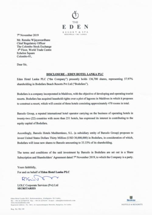 EDEN HOTEL LANKA PLC (EDEN.N0000) - Page 2 Screen52
