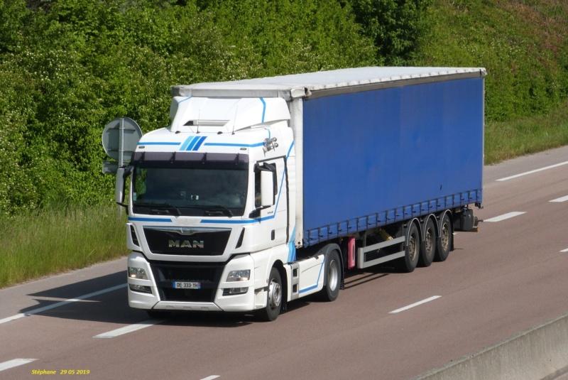 MAN TGX blanc avec des bandes bleu et Tautliner bleu P1460649