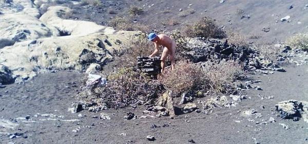 Naked Tourist Damages Lava Flow.  50980-10