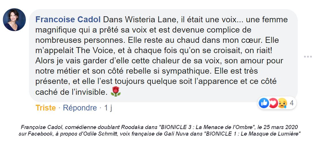 Décès d'Odile Schmitt, voix française de Gali Nuva dans BIONICLE 1 Hommag10