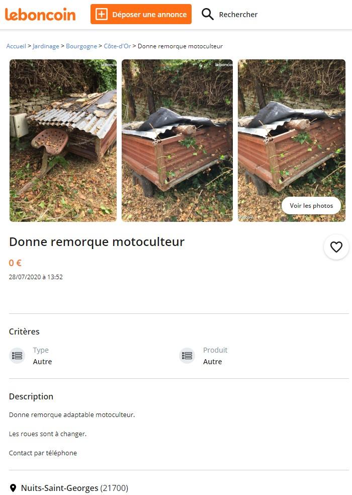 motoculteur - ANNONCE DESACTIVEE  Une remorque pour motoculteur  à donner  Remorq10