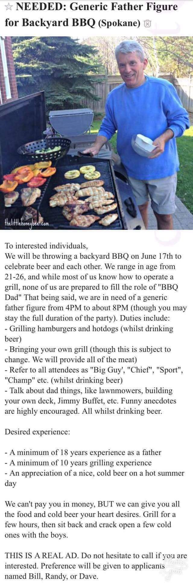 craigslist ad looking for a dad to grill Dad10