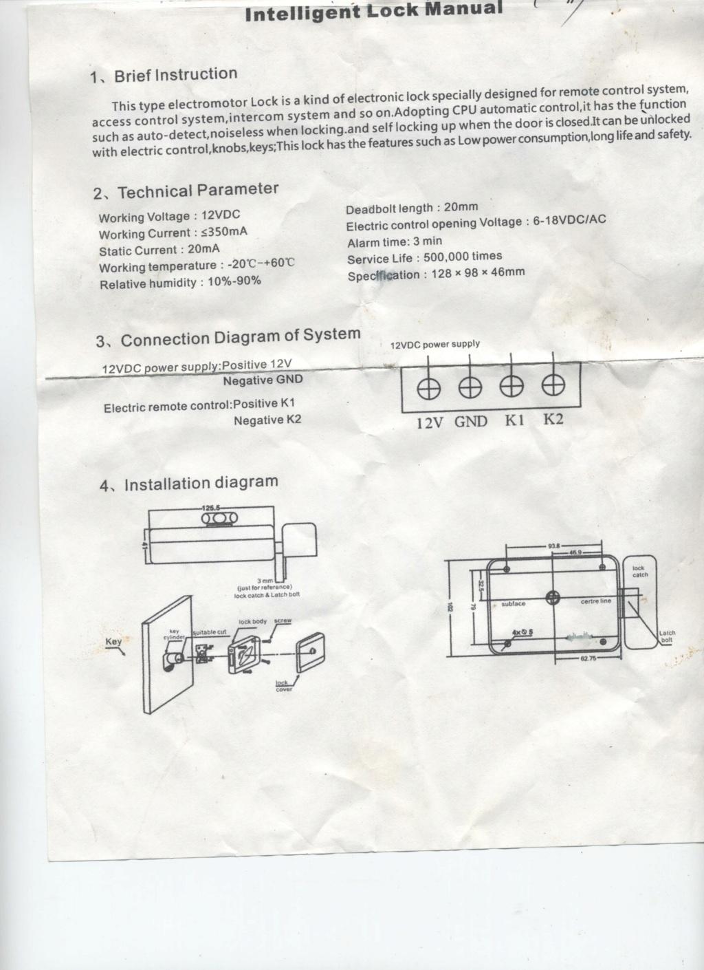 Branchement poussoir sur serrure electrique Serrur10