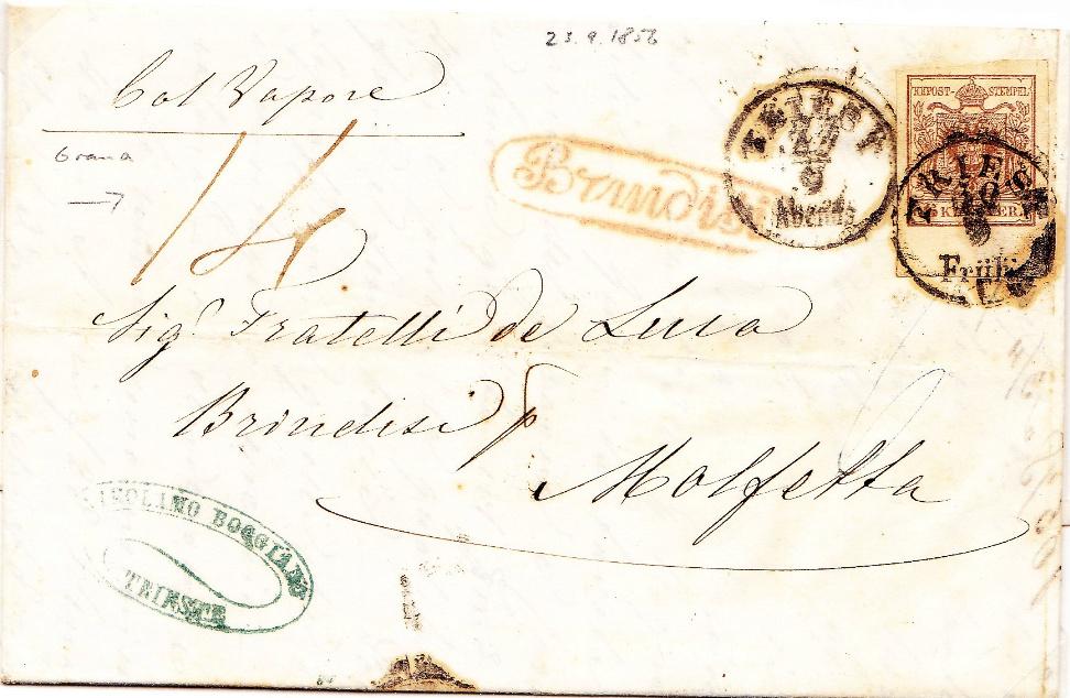 Frage zu Postgebühren betreffend eines Faltbriefes v. Triest nach Molfetta Molfet13