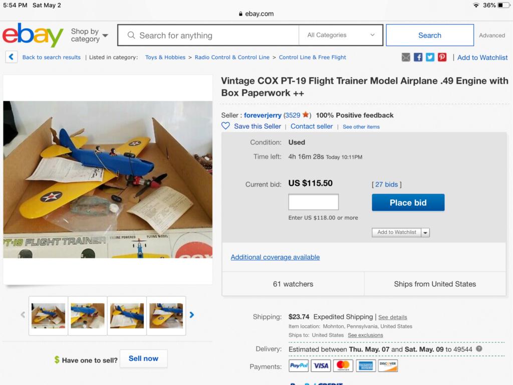 COX PT-19 Flight Trainer - eBay Listing (Looks New w/Box!) 1788bb10