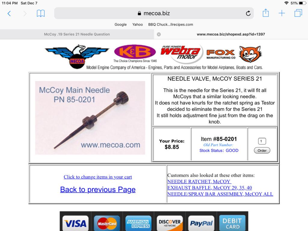 McCoy .19 Series 21 Needle Question E3863910