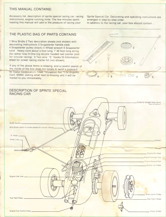 Testors Indy 500 tether race car manual Indy210