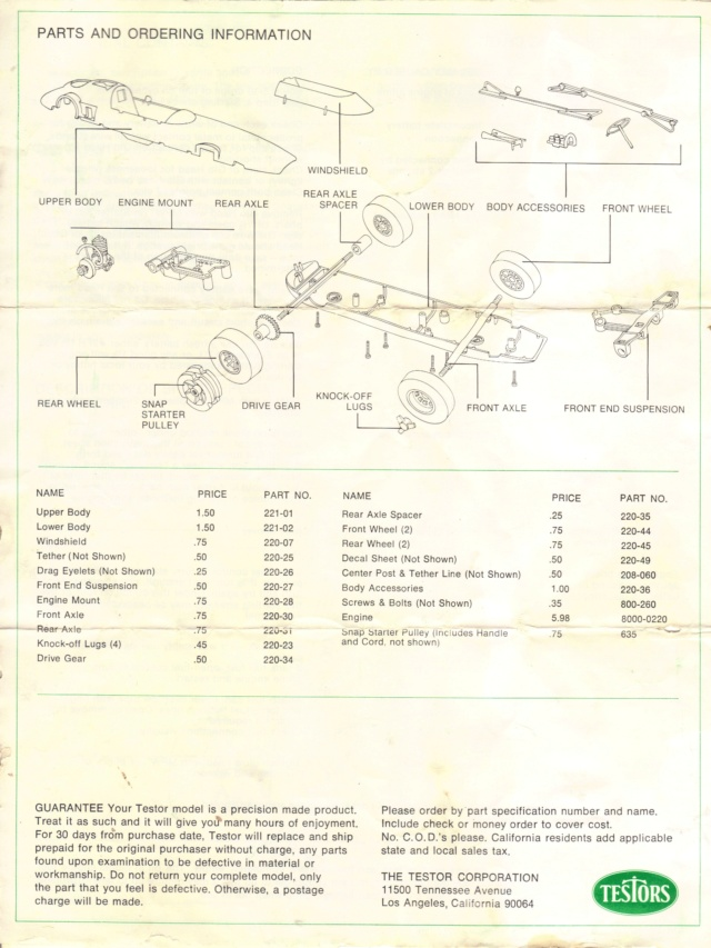 Testors Indy 500 tether race car manual Indy410