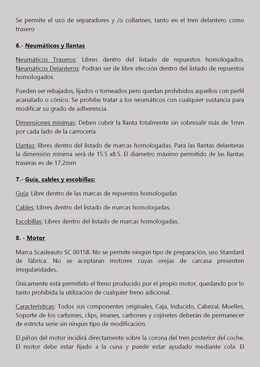 Temporada 2019 // Reglamento Técnico COPA SCALEXTRIC Pagina15