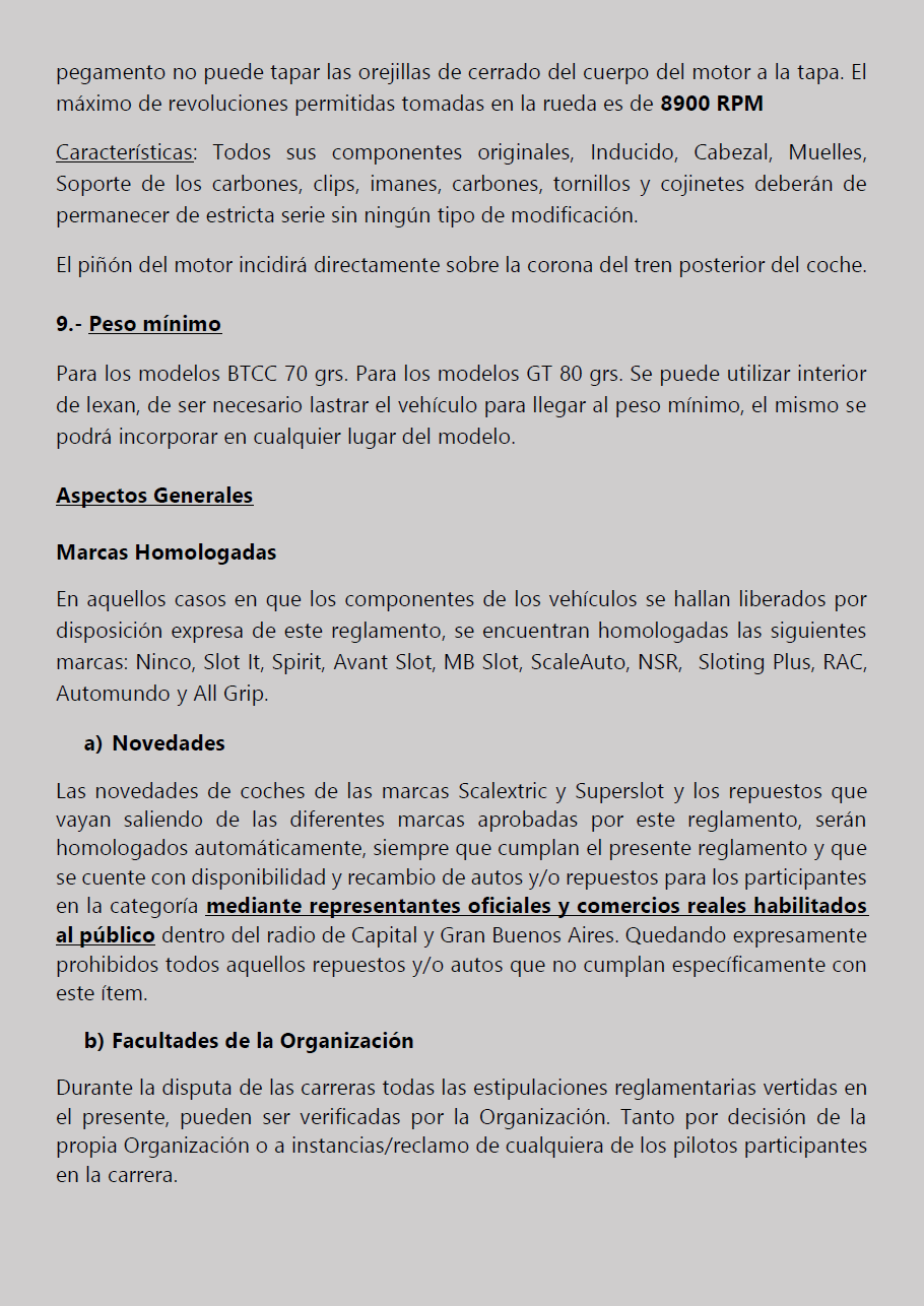Temporada 2019 // Reglamento Técnico COPA SCALEXTRIC Pagina18