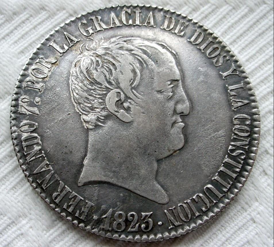 8 reales Fernando VII 1823 Madrid (copias) Imagen10