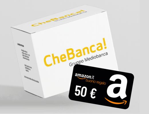 CHEBANCA! regala BUONO AMAZON € 50 con codice presentatore [promozione valida fino al 31/12/2020] Cheba510
