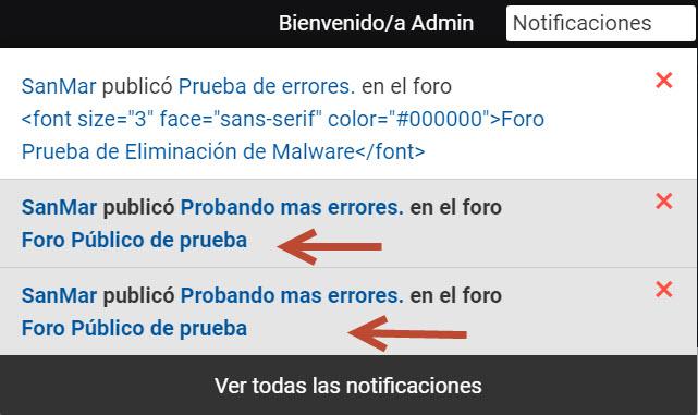Se ve el código  en las notificaciones y mails en lugar del Titulo del Foro 622