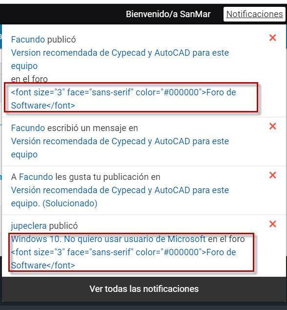 Se ve el código  en las notificaciones y mails en lugar del Titulo del Foro Error10
