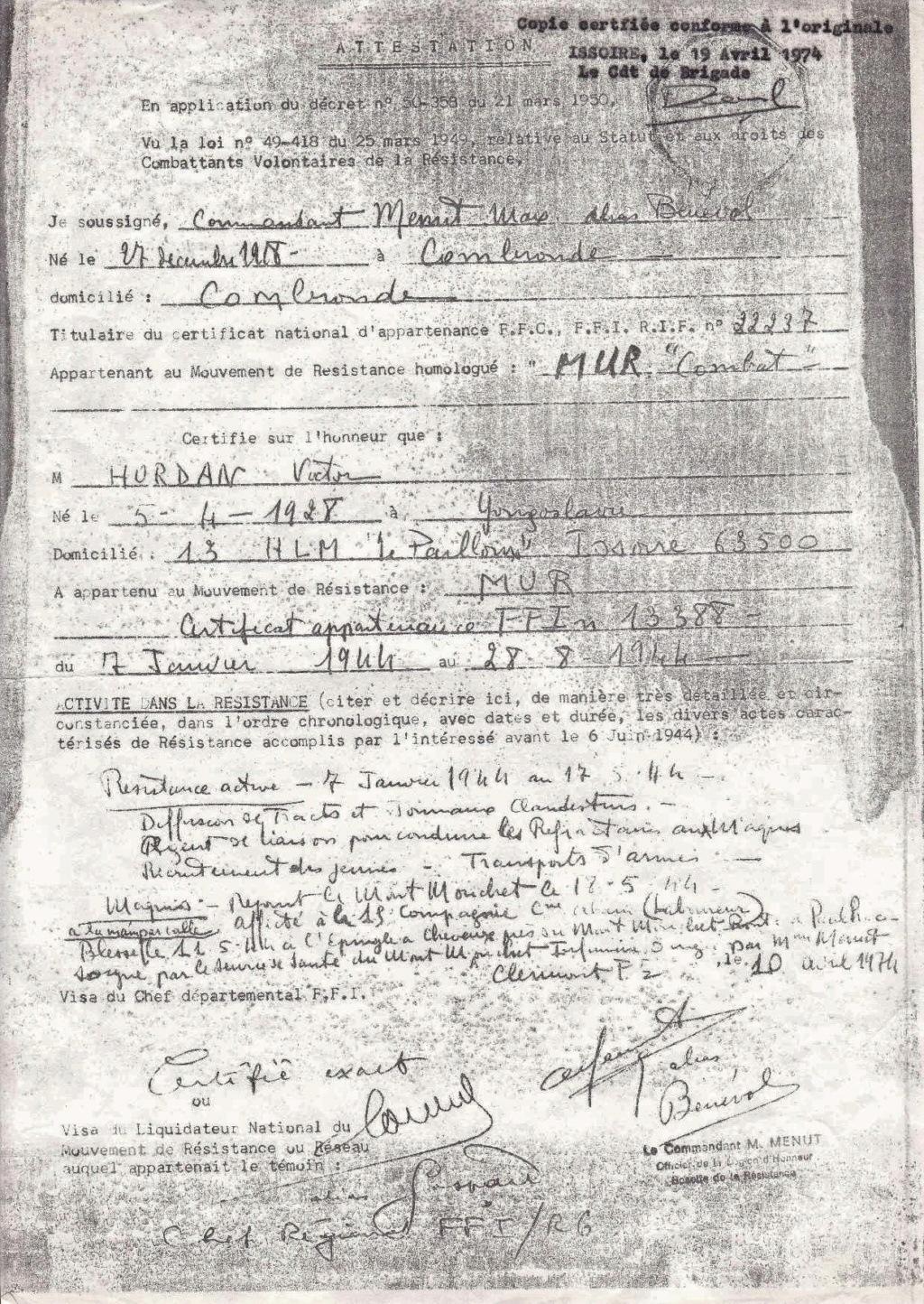 HORDAN Victor Alias Mousse (Mont Mouchet,Chaméane etc.) Certif10