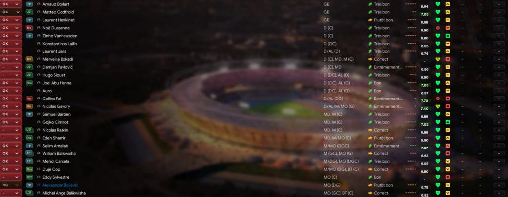 Enregistrement des joueurs - Jupiler Pro League Standa12