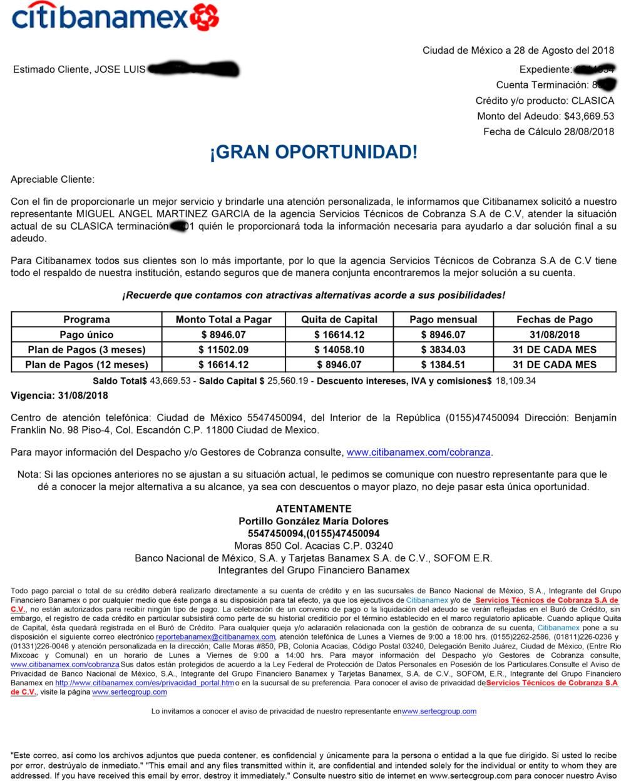 me llega correo de Gran Oportunidad sera real? BANAMEX Carta-12