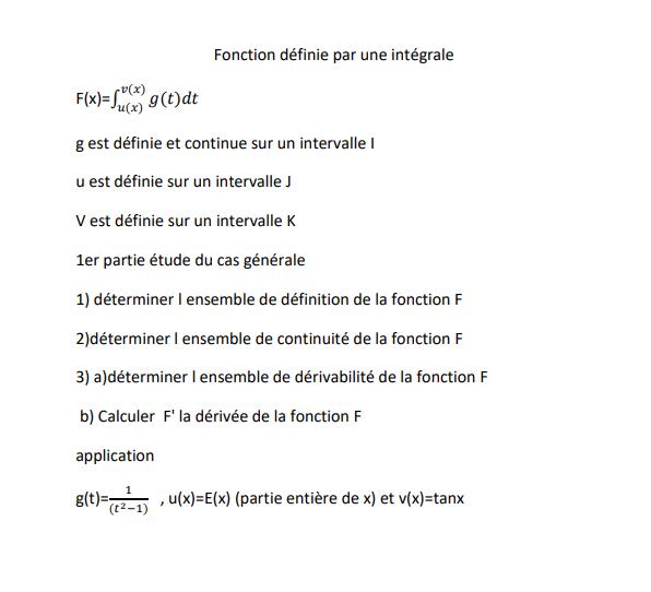Fonction définie par une intégrale cas générale  Ex_int10