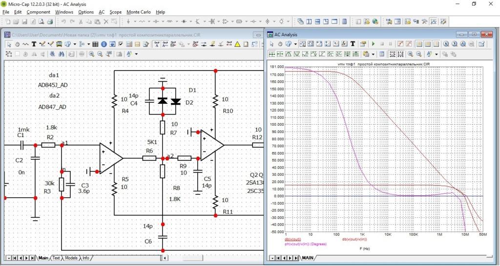 Моделирование телефонных композитных усилителлей Aa10