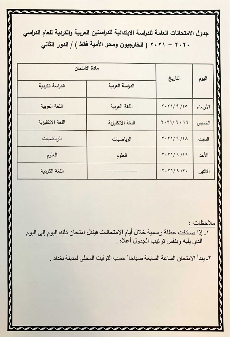 جدول امتحانات الخارجي ومحو الامية السادس الابتدائي 2021 الدور الثاني Photo511
