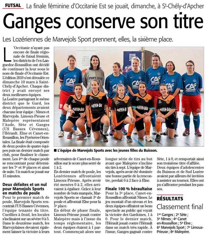 Futsal Féminin Régional 2019 Futsal14