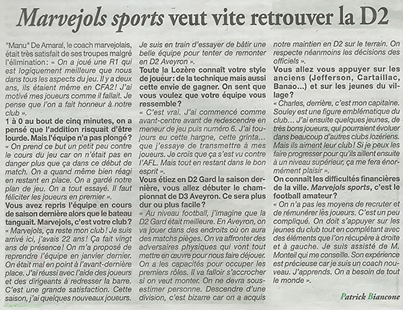 Interview de Manu De Amaral, coach seniors Manu10
