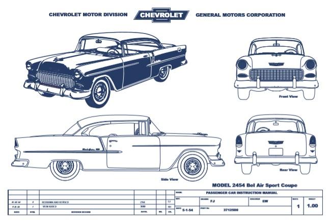 Chevrolet 55 Sport Coupe Blueprint Rzodui10