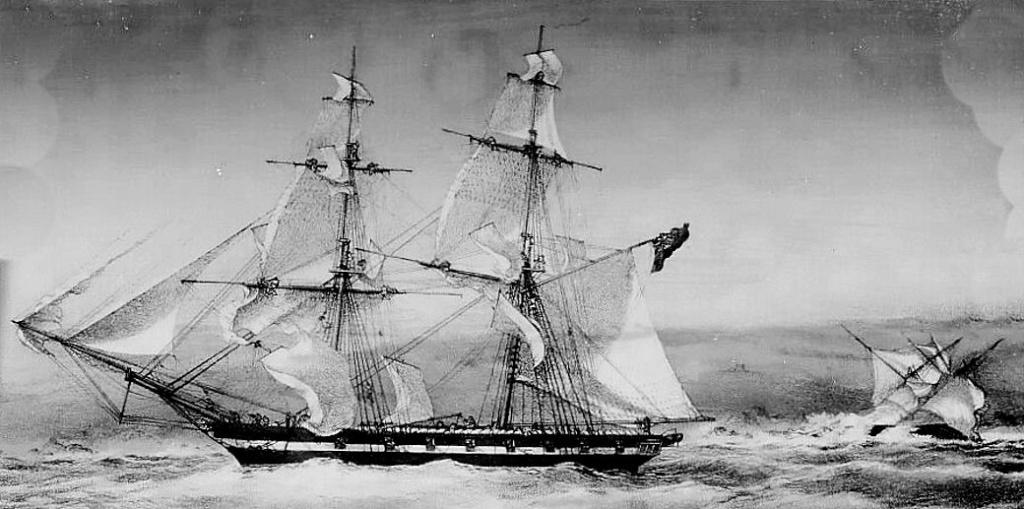 Manœuvre urgente des voiles sur le Brig (slaver) HM Frolic en 1853. Frolic10