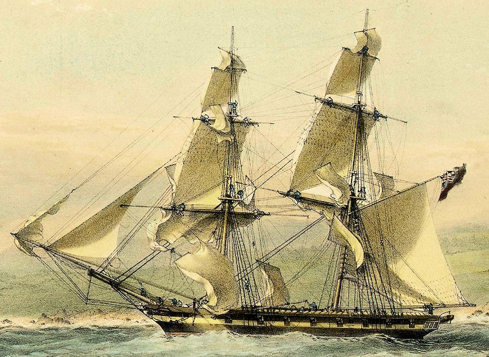 Manœuvre urgente des voiles sur le Brig (slaver) HM Frolic en 1853. Frolic11