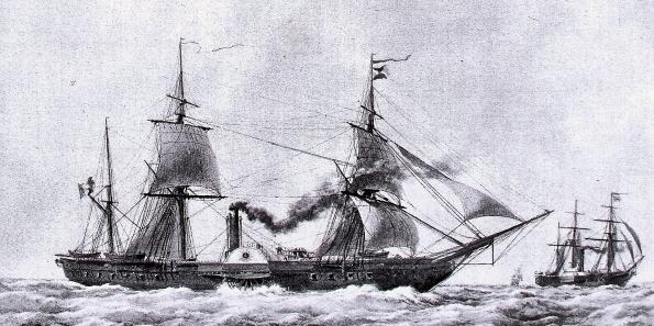 """Frégate à roues """"La Caraïbe"""" perdue en janvier 1847. Gomer-10"""