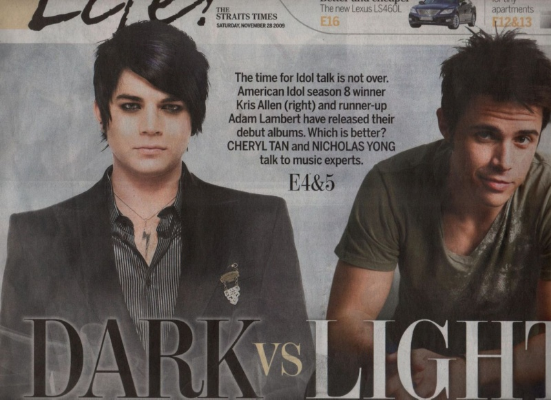 Idols' battle of debut CDs - Adam vs Kris on The Straits Times!! Battle11