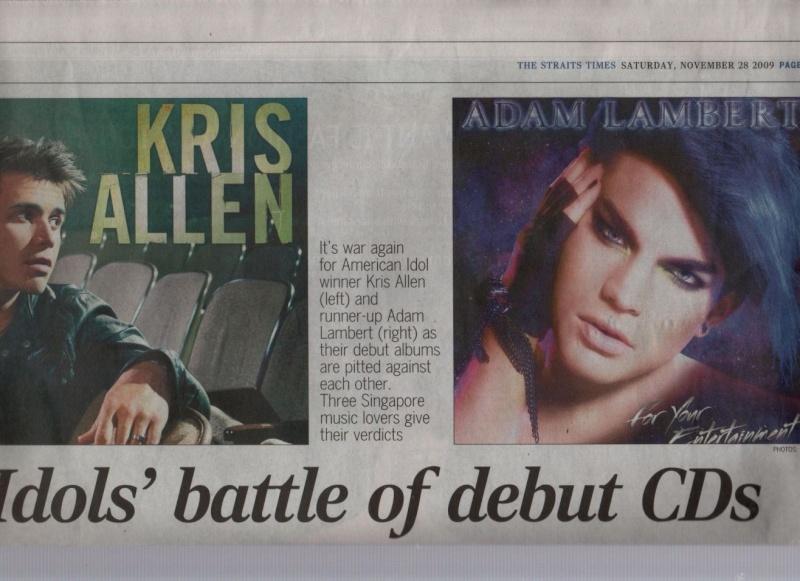 Idols' battle of debut CDs - Adam vs Kris on The Straits Times!! Battle12
