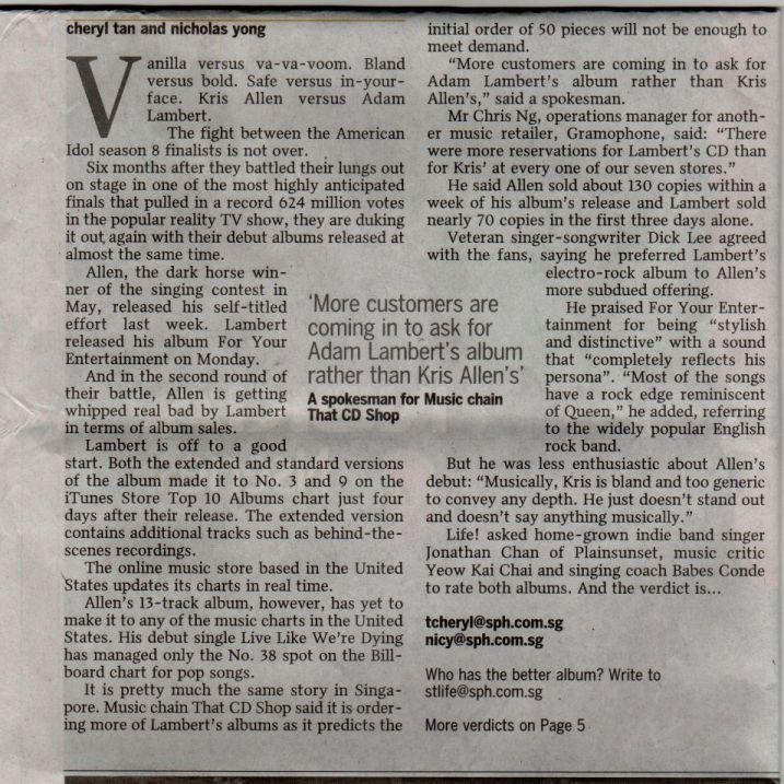 Idols' battle of debut CDs - Adam vs Kris on The Straits Times!! Battle13