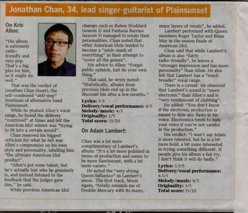 Idols' battle of debut CDs - Adam vs Kris on The Straits Times!! Battle14