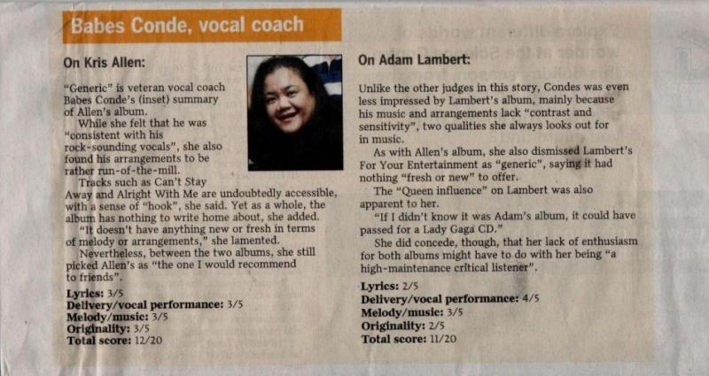 Idols' battle of debut CDs - Adam vs Kris on The Straits Times!! Battle16