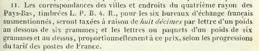Tarif postal pour l'etranger (1833) Lpb10