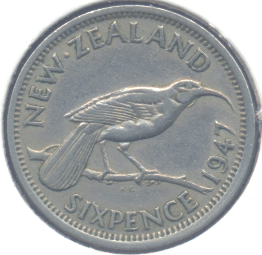 ¡¡Animales!! 6 pence 1947 Nueva Zelanda 6pence10