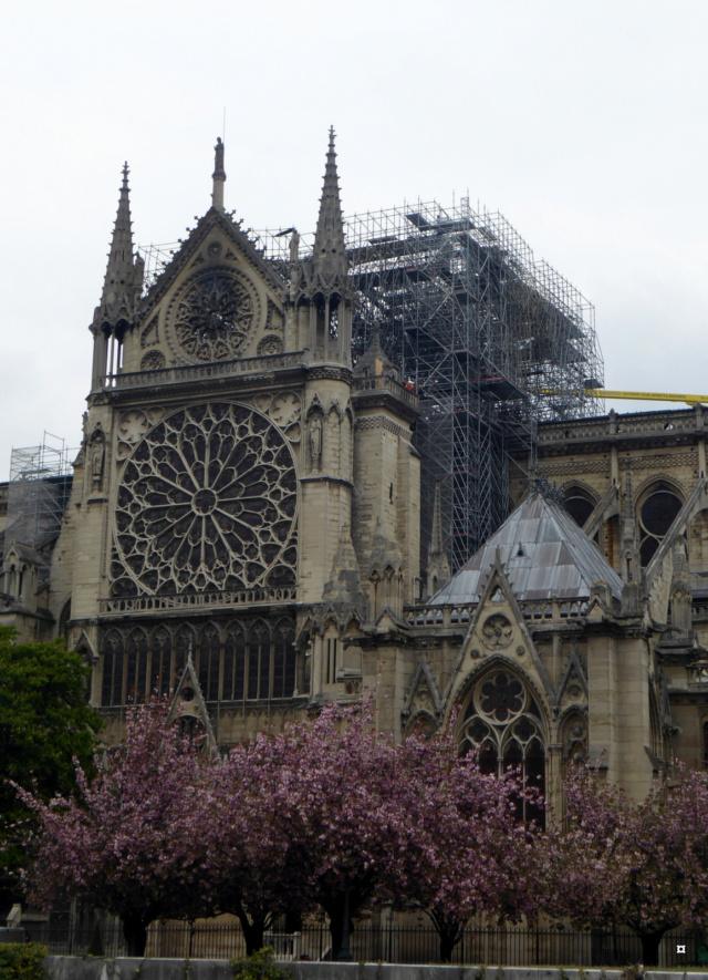 Notre Dame, face sud, sous un ciel gris. 1-01613
