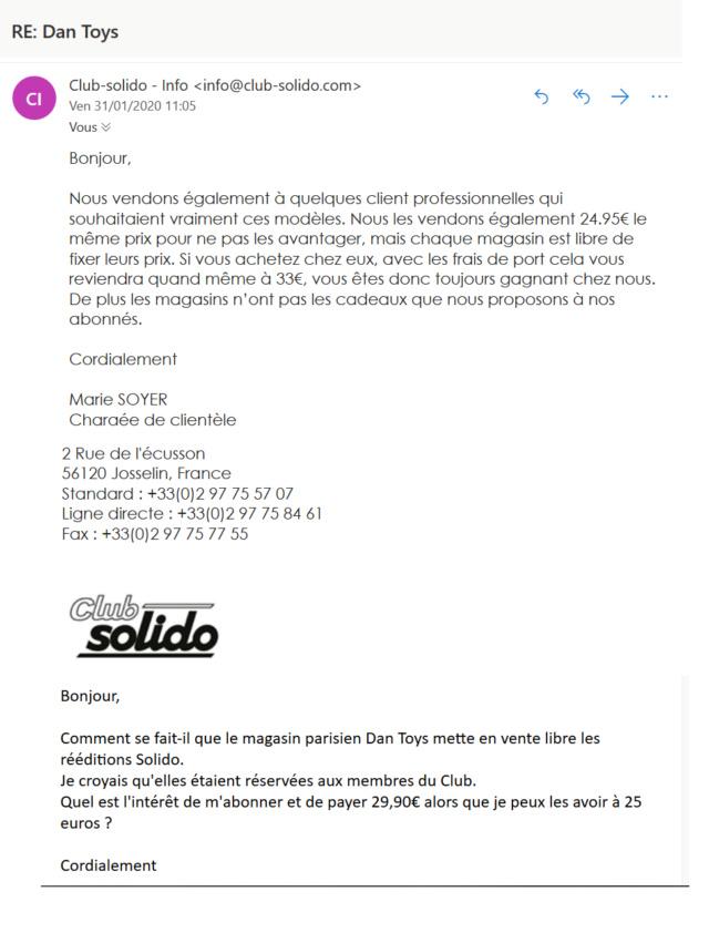 Les SOLIDO club série 100 vente chez Dan Toys 2020-012