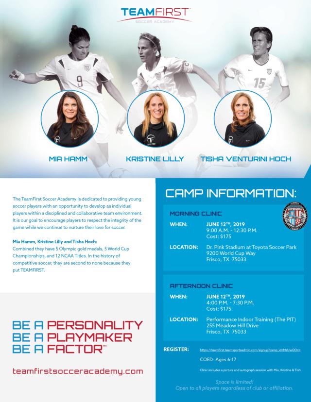 Mia Hamm, Kristine Lilly, Tisha Venturini: June 12th Clinics Teamfi12