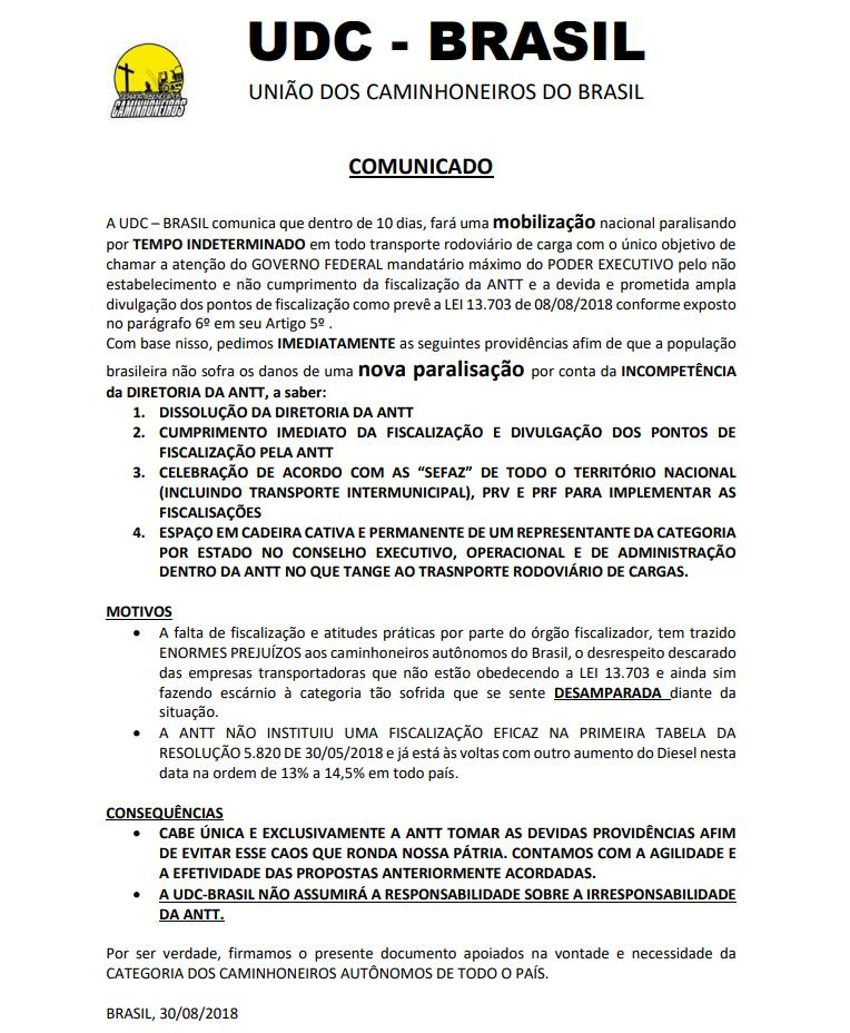 União dos Caminhoneiros anuncia nova paralisação a partir de 9/9 Udc10