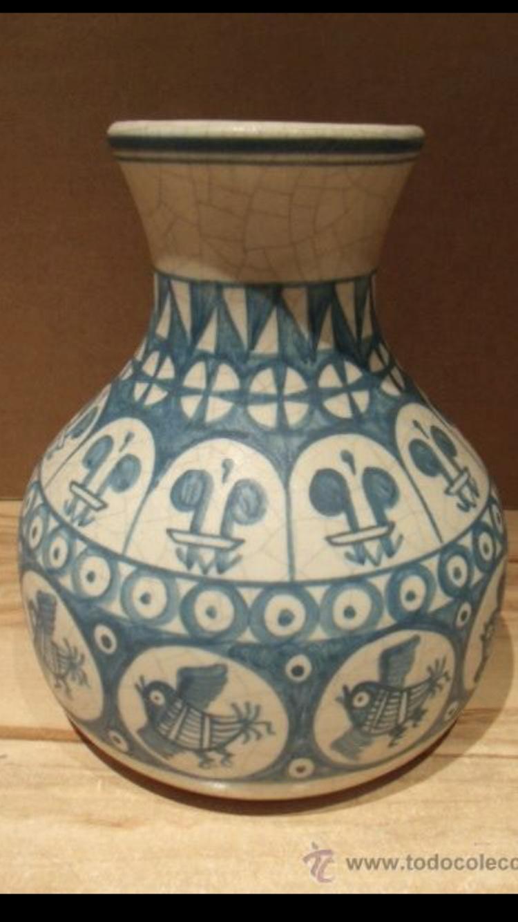 Vase émail craquelé décor bleu oiseaux et fleurs de lys - Masipal  Espagne - Page 2 8f9c4f10
