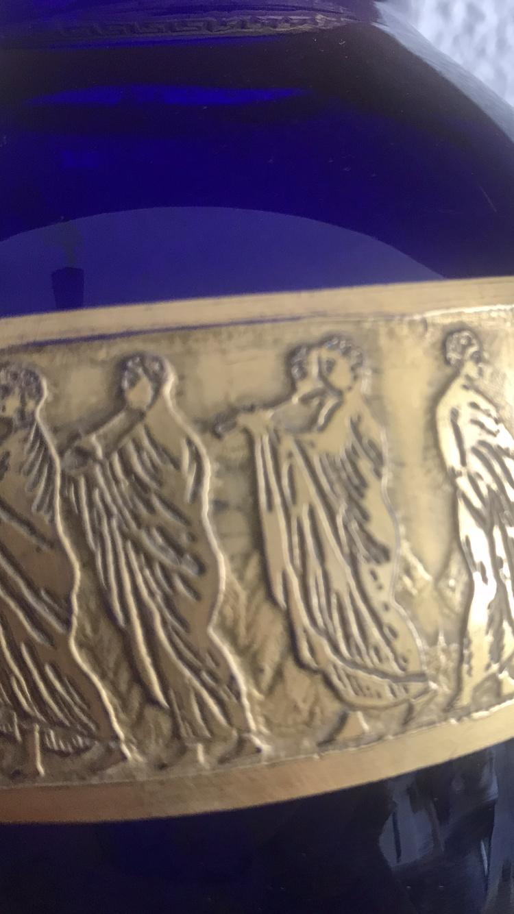 Vase bleu cobalt frise à l' antique attribué à Moser B3a07810