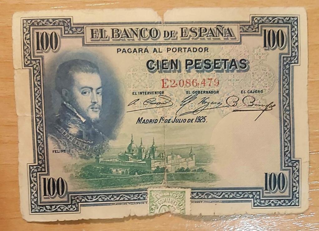 100 pesetas 1925, serie E, con sellos de Correos Billet10