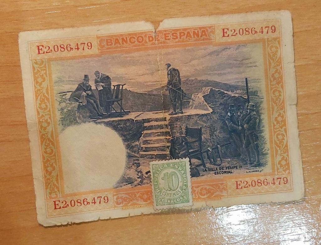 100 pesetas 1925, serie E, con sellos de Correos Billet11