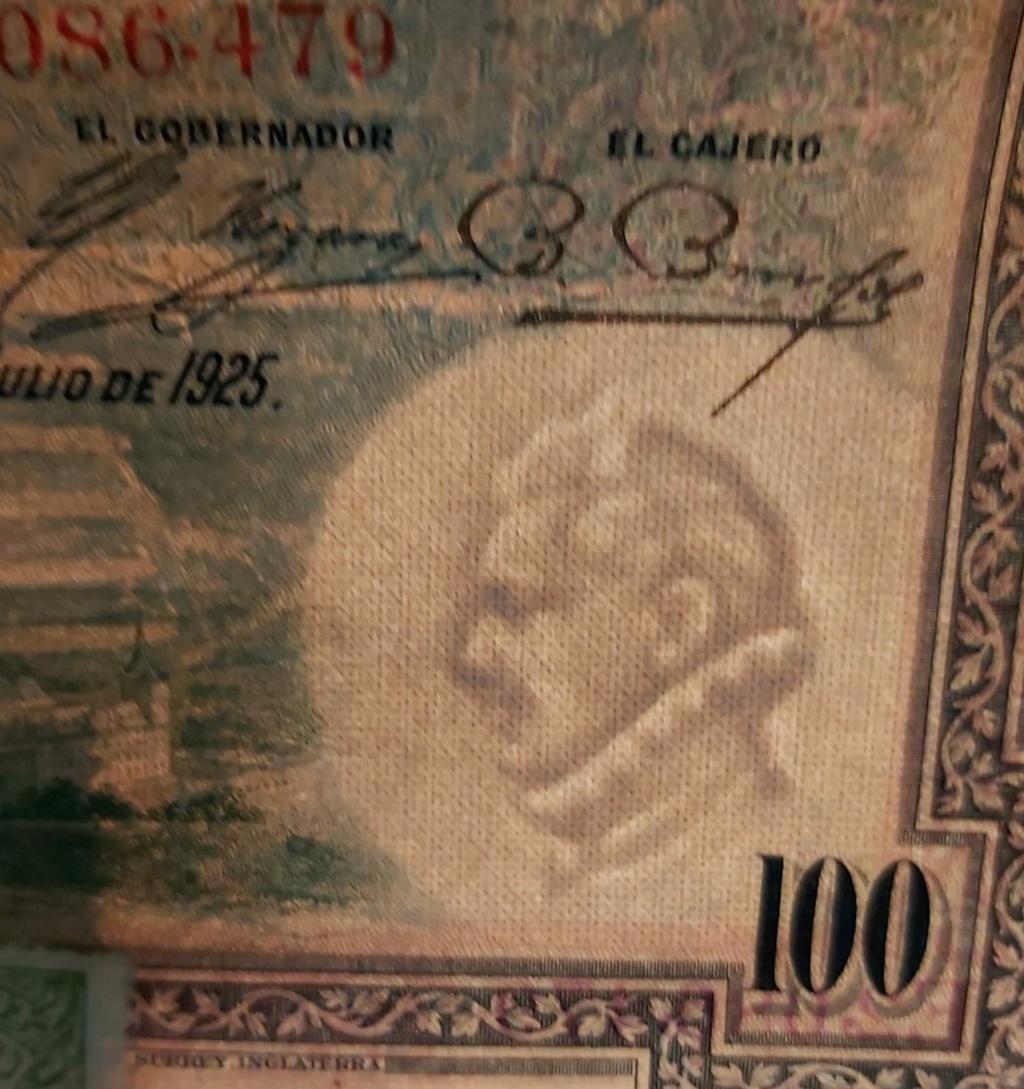 100 pesetas 1925, serie E, con sellos de Correos Billet12