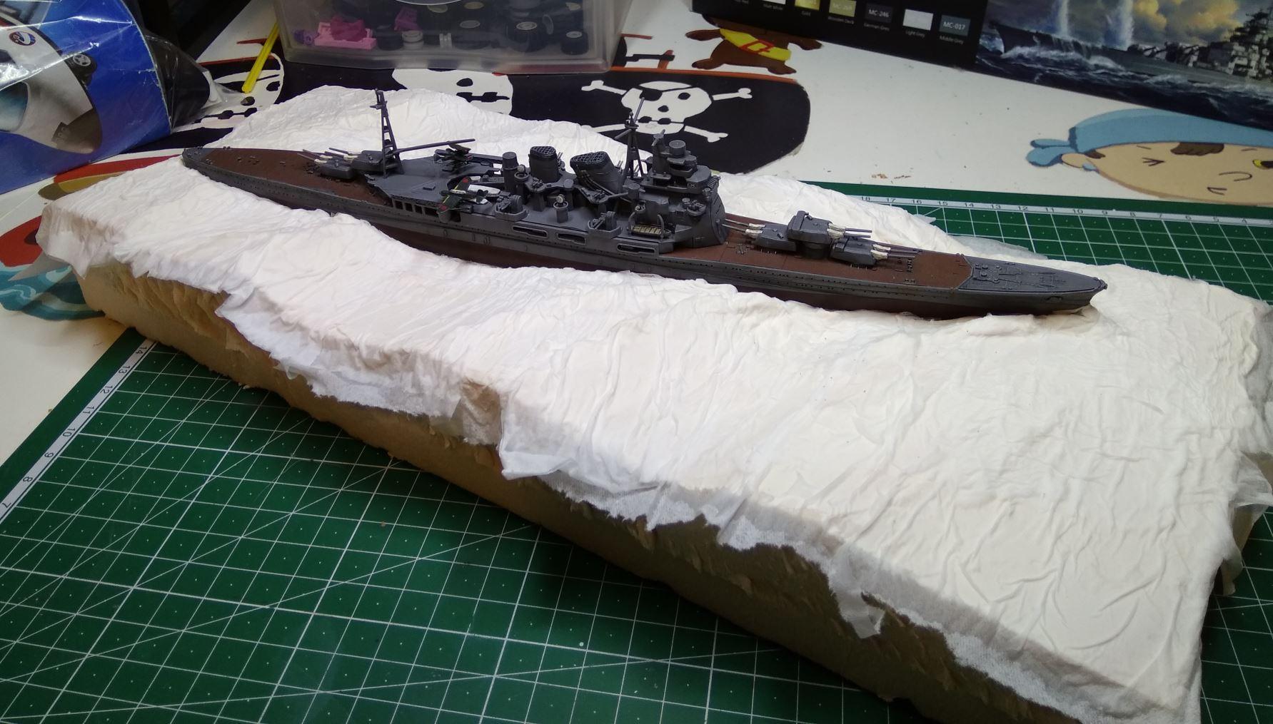 Débutant en diorama maritime, désormais terminé! Atago110