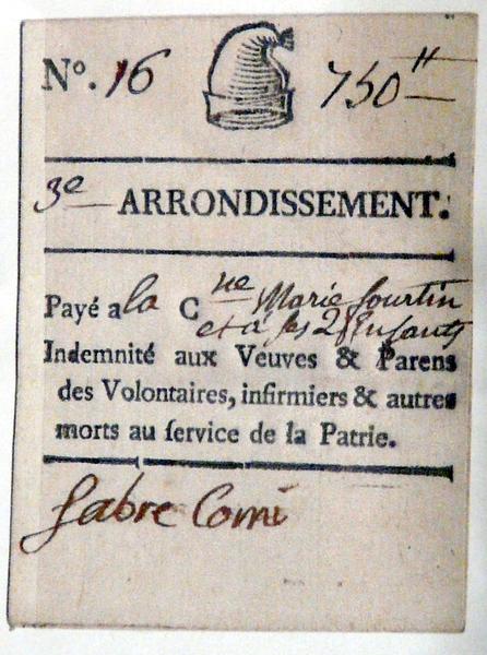 Bon de Secours aux veuves ... P1340814