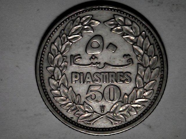 50 piastras del Líbano,plata.1952 Fri_ja32