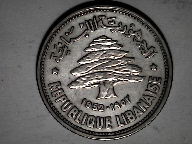 50 piastras del Líbano,plata.1952 Fri_ja33